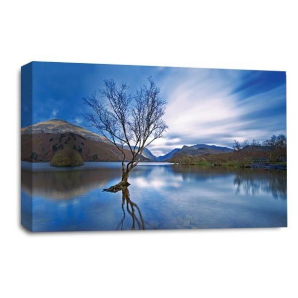 Landscape Wall Art Picture Print Blue Cream Mountains Lake